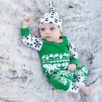 Good Quality Print Newborn Baby Boy Girl Long Sleeve Romper Jumpsuit Sleepsuit Hat Outfits Clothes