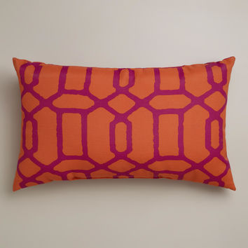 Orange and Fuchsia Gate Wide Outdoor Lumbar Pillow - World Market