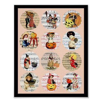 Halloween Witches Pumpkins Sheet Music Collage Art Poster