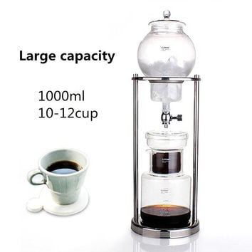 Free shipping Large capacity 1000ML percolators glass coffee pot /superior filter coffee maker ice drip coffee filters tool BD-7