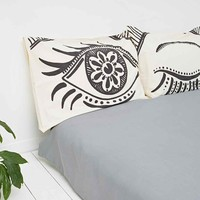 Winking Eye Pillow Set in Black and White - Urban Outfitters