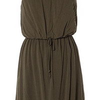 OLIVE GREEN STRAPLESS WITH ELASTIC WAIST DRESS
