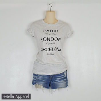 Paris London Barcelona - Women's Basic Oatmeal Short Sleeve, Graphic Print Tee