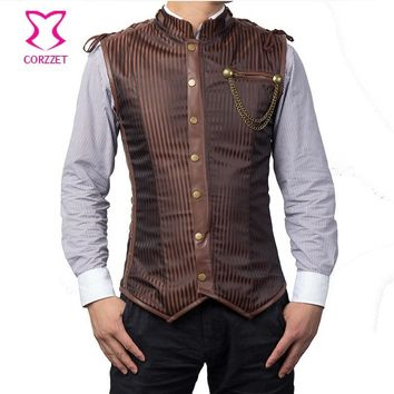 Trendy Brown Striped Stand Collar Sleeveless Zipper Steel Boned Vintage Steampunk Corset Jacket Gothic Clothing Men Waistcoat Vest Coat AT_94_13