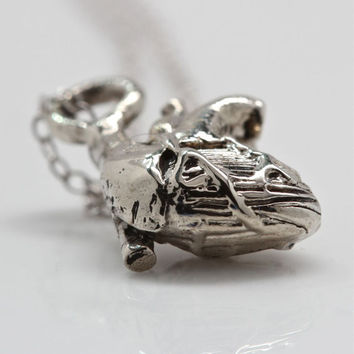 Tiny Anatomical Heart Pendant  eco white bronze