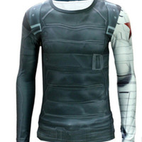 High quality winter wonders captain America 2 2016 soldiers clothing 3 d super long sleeve T-shirt man movement
