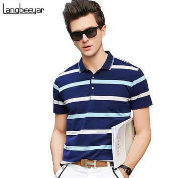 Men Polo Shirts  Street Wear Slim Fit Mens Striped Polo Shirts With Short Sleeve Summer Men Clothes
