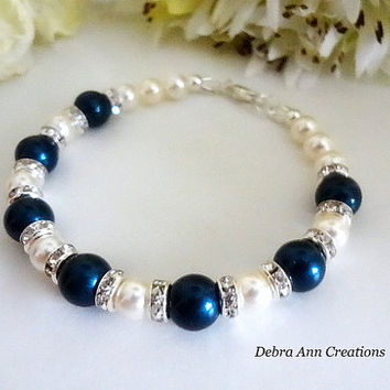 December Birthstone Bracelet Blue Birthstone Jewelry Swarovski Pearl Bracelet Grandma Gift For Her Christmas Gift Birthday Gift For Mom