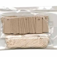 "100 Blank Mini KRAFT Hang Tags (1/2""x1"") & 100 Cut Strings for Crafts & Gifts. Personalize & Price your merchandise."