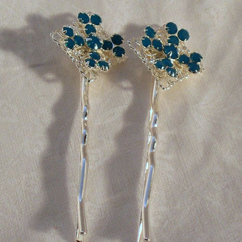 Caribbean Blue and Silver Bobby Pin 1 pair by DesignsByDeb18