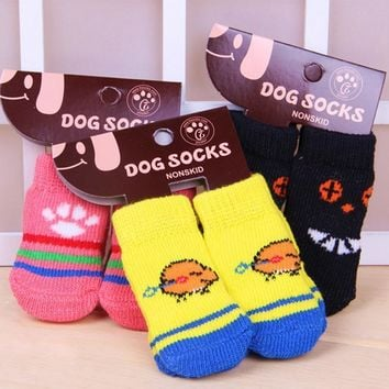 4 PCS/set Small Pet Dog Doggy Shoes Lovely Soft Warm Knitted Socks Clothes Apparels Fo