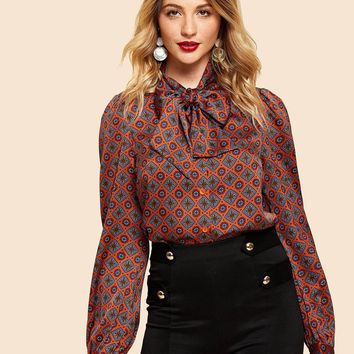 Button Up Tie Neck Tribal Shirt