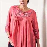 Umgee Plus Coral Embroidered Tunic