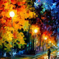 "Blue Moon — PALETTE KNIFE Landscape Oil Painting On Canvas By Leonid Afremov - Size: 20"" x 36"""