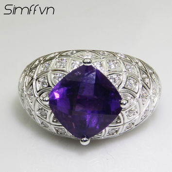 Simffvn 10*10mm  Princess Cut Purple Amethyst Ring Solid 925 Sterling Silver Ring Classic Wedding Bands fine Jewelry For Women