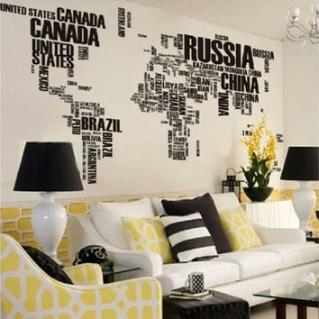 DIY World Map in Words Removable Vinyl Wall Decal Wall Stickers Art Home Kids Room Decor (Color: Black) [8081670599]
