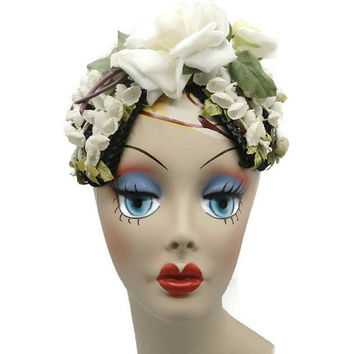 Marshal Field And Company 1930's Rose And Lily Of The Valley Fascinator Hat