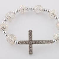 Clear Iced Out Sideways Cross Ornamental Style Beaded Stretch Bracelet