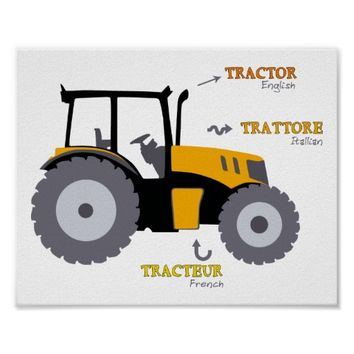 Tractor Nursery Print educational art Poster