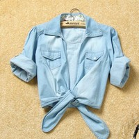 Women Summer Cute New Lower Hem Knotted Middle Sleeve Casual Jean Blue Jean Shirt Top One Size@II1015bl $12.92 only in eFexcity.com.