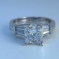 2.65ct Princess Diamond Engagement Ring 18kt white gold GIA certified