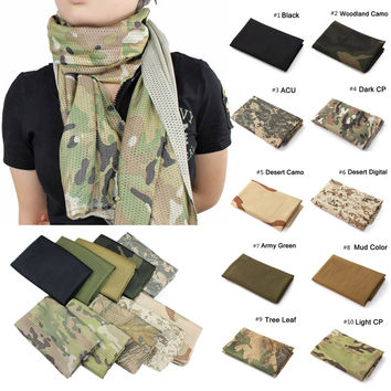 Fashion Unisex Multi-purpose Fish Net Mesh Tactical Camouflage Scarf Veil Neckerchief for Outdoor Activities and War Game JL