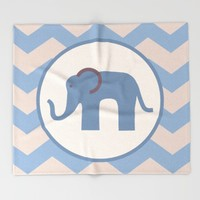 Baby Blue Chevron Elephant Throw Blanket by UMe Images