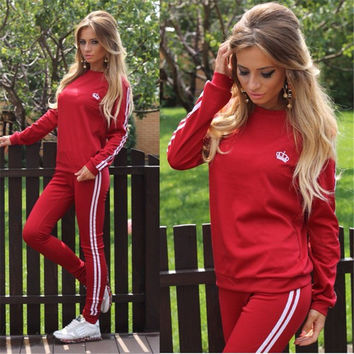 Casual Splicing Long Sleeves T-shirt with Pants Sports Suit Activewear
