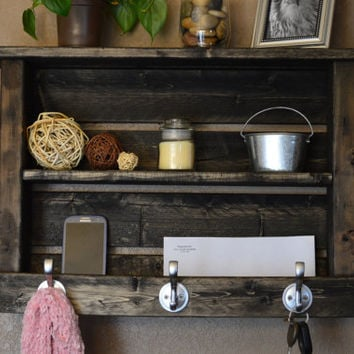 Simply Rustic Wood Entryway Hall Foyer organizer Keys Phone Mail Holder Coat Hat Rack Hooks With Shelf