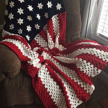 Afghan - Stars and Stripes Crochet Blanket