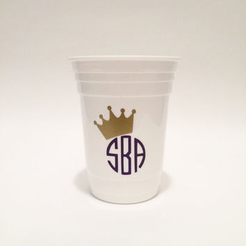 Monogram Cup, Cup WIth Crown, Zeta, Sorority Cup, Queen Cup, Solo Cup, White Cup, Rush GIft, Big Gift, Little Gift, Best Friend Gift, Gift