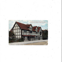 Early 1900s Vintage Color Tinted Photo Postcard of Shakespeare's House, Stratford on Avon, England, Posted, Travel British Postcard Ephemera
