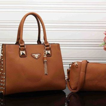 PEAPJ3V PRADA Women Fashion Leather Satchel Tote Handbag Crossbody Set Two-Piece