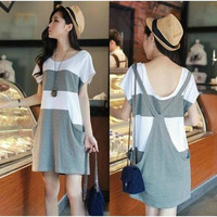 Maternity Dress False Two Plus Size Ladies Splicing Pocket Straps Dress Short Sleeves Cotton Gray Loose Fashion Popular = 1945936260