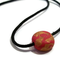 Red and gold metallic polymer clay pendant necklace