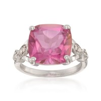8.00 Carat Pink Topaz and .10 ct. t.w. Diamond Ring in Sterling Silver