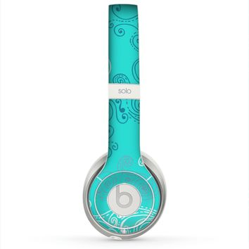 The Blue Swirled Abstract Design Skin for the Beats by Dre Solo 2 Headphones