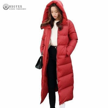 Winter Jacket Women 2017 White Duck Down Coat Fashion Thick Warm Outwear Female Hooded Parka Slim Long Feather Coat ZX0223