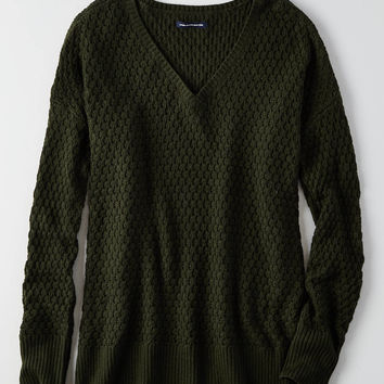 AEO Textured V-Neck Sweater , Olive