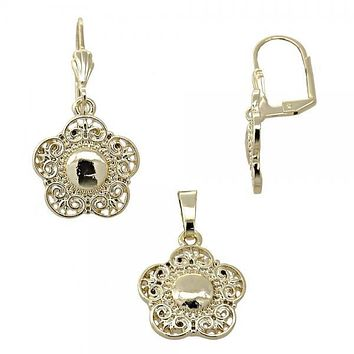 Gold Layered 10.179.0013 Earring and Pendant Adult Set, Flower Design, Diamond Cutting Finish, Gold Tone