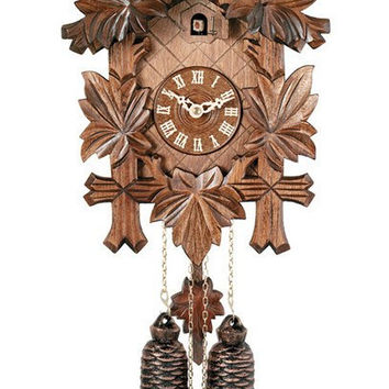 "13"" Tall Five Leaves One Bird 8 Day Hand-Carved German Cuckoo Clock"