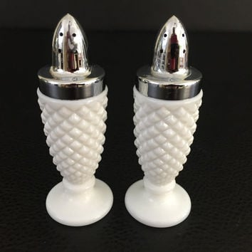 Westmoreland Glass Co. milk glass salt & pepper shakers English Hobnail
