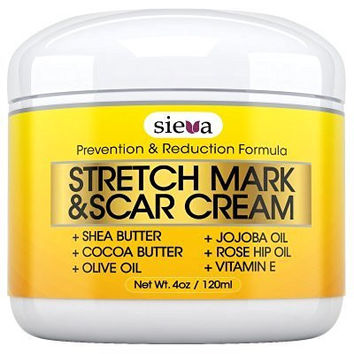 Stretch Marks & Scars Cream - Best for Stretch Mark Removal - Body Moisturizer for Prevention and Reduction of Old & New Scars - Natural & Organic for Pregnancy, After Birth, Women, & Men - By Sieva Skincare