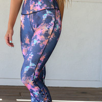 Roam Navy Splatter Print Active Wear Pants