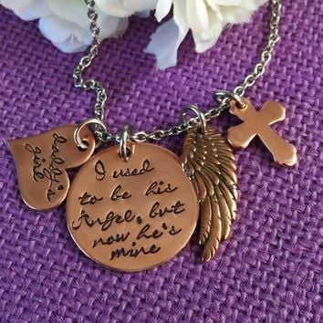 Memorial Jewelry - I used to be his angel now he's mine - Memorial Necklace Jewelry  - Daddys girl - Sympathy gift - Remembrance