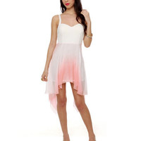 Lovely White Dress - Dip Dye Dress - $49.00
