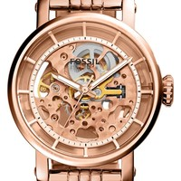 Fossil 'Original Boyfriend' Skeleton Dial Automatic Bracelet Watch, 38mm | Nordstrom