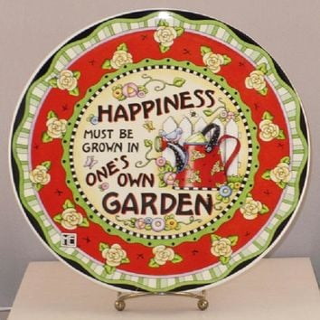 Mary Engelbreit Happiness Must Be Grown Plate-PMOSBB