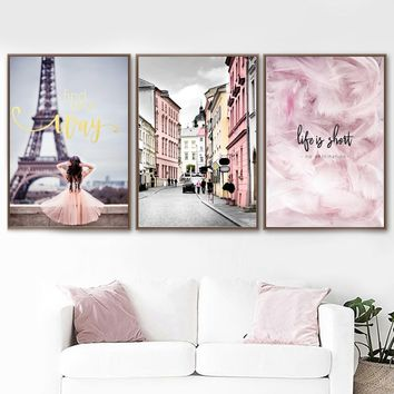 Wall Art Print Pink Paris Girl Dream City Canvas Painting Nordic Posters And Prints Wall Pictures For Living Room Bedroom Decor