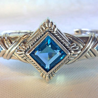 Vintage 20s Art Deco Silver & Blue Topaz Crystal by Mercivintage